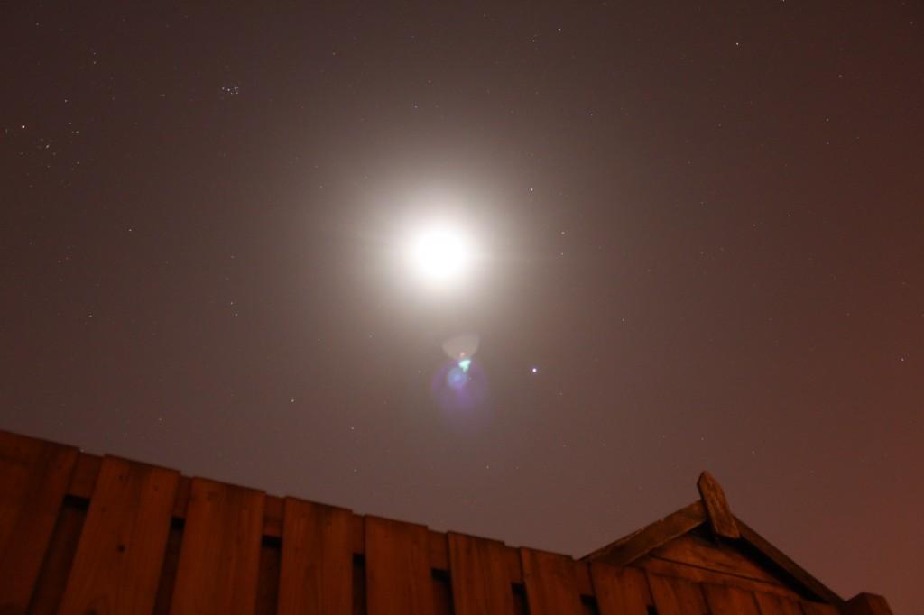 Jupiter, Moon, Pleiades, Taurus